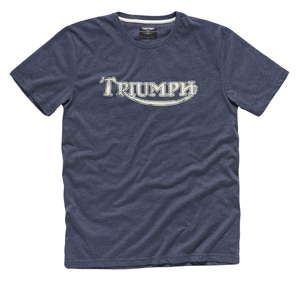 Triumph vintage logo t shirt blue phillip mccallen for Old logo t shirts